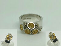 Modern Designer SJP English Sterling Silver Unusual Retro Band Ring Size L 1/2