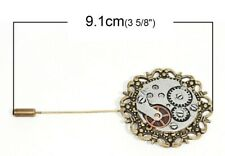 STEAMPUNK LARGE HAT PIN~BROOCH PIN ANTIQUE BRONZE/SILVER~WATCH PARTS~GEARS (27B)