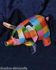 Peluche Doudou Eléphant Elmer Carreaux Multicolore David Mc Kee 14 Cm TTBE
