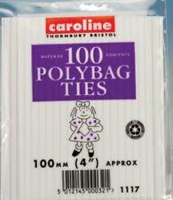 "Caroline Pack of 100 Polybag Ties 4"" (100mm) Bag Closers"