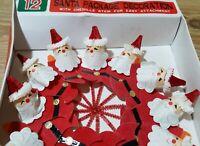 Vintage Santa Christmas Decorations Paper Honeycomb Chenille Japan