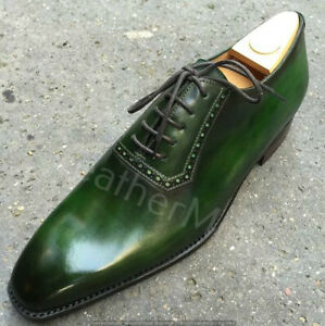Handmade Men's green patina lace up oxford shoes luxury men leather shoes