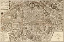FRANCE MAP ART PRINT Plan de la Ville de Paris, 1715 Vintage French Poster 37x25