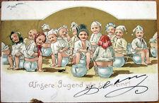 1902 Multiple Baby Postcard: Babies on Pee Pots, Peeing