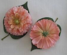 "4 Pink and Orange Variegated Artificial Silk Flower 4.75"" Head Hair Clip Craft"