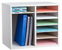 AdirOffice White 12 Compartment Adjustable Wood Literature Organizer