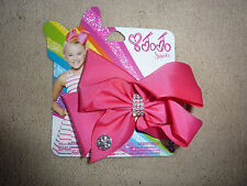 JoJo Siwa Small Rhinestone Keeper Hot Pink Hair Bow - New
