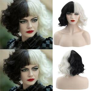 NEW CRUELLA de Vil Fancy Dress Wig Black White Deville Dalmatians Party Wig Prop