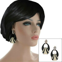 Vintage 1980s Doorknocker Pierced Earrings Black Cream Enamel Silver Tone USA