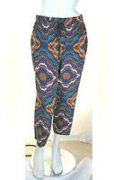 Pantaloni Donna in Seta ATOS LOMBARDINI Italy H913 Multicolore Affusolato Tg 44