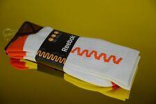 REEBOK Zigtech Basketball Crew Socks 1Pair Orange White Men's Size XL 12.5 - 15