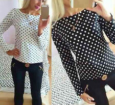 Moda Mujer Chifón lunares Blusa Largo Vainas Tops Camisetas blusen-oberseiten
