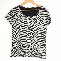 Second Female for Anthropologie Monochrome Zebra Animal Print Gabby Tee Top M 10