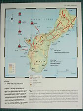 WW2 WWII MAP ~ GUAM 21 JUL- 10 AUG 1944 US ATTACKS FRONT LINES AIRFIELDS