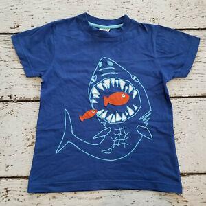 MINI BODEN Boys Blue Appliqued Shark Short Sleeve Tee Shirt 7 8 7-8 VGUC