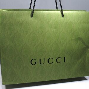 "GUCCI Damask Shopping Bag/Gift Bag Celery Green Approx. 19"" x 14"" x 6 3/4"""