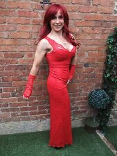 JANE NORMAN RED GOTHIC LACE VINTAGE PROM STRETCH WIGGLE DRESS & GLOVES ~ UK 10