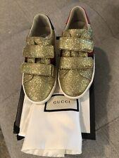 NIB Gucci Kids New Ace V.L. Sneakers (Kids) 30 $330 12.5 Gold Glitter
