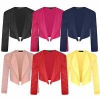 Girls Open Front Bolero Cardigan Jacket Kids Long Lace Sleeve Top Shrug 3-14 Y