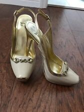 Nando Muzi women's leather Italian shoes, Beige Color With Swarovski size 38
