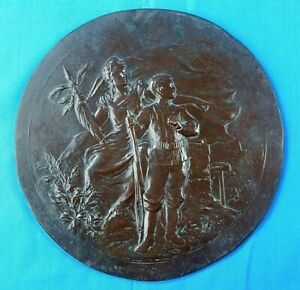 Antique French France Pre WW1 19 Century Bronze Medal Large Wall Plaque Decor