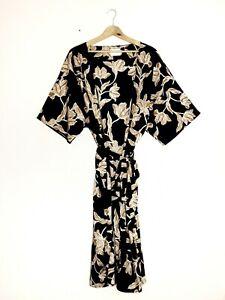 MAISON DU SOIR Kimono Robe S/M Black/Gold Floral Belted Duster Cover Up