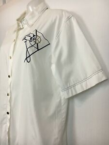 Vintage top blouse white navy blue gold embroidery sailor yacht casual nautical