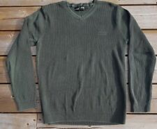 Distressed Army Green Jeep Brand Ribbed V Neck Men's Sweater Embroidered Logo