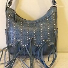 American West- HANDMADE Blue with fringe ZIP TOP- Leather Handbag  -NEW!