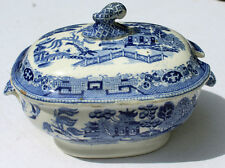 Antique Blue Willow Small  Sauce Tureen Covered Dish Blue & White