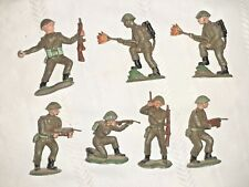 Vintage Crescent Plastic WWII British 8th Infantry 60mm 7 Pieces Total