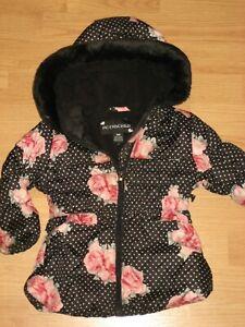 Girls Rothschild 18 months winter coat jacket hooded infant black floral