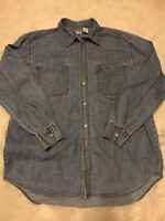 Vtg. Mens Medium LEVIS Loose Fit Denim Metal Button Shirt RED TAB Blue Jean