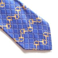 Charles Tyrwhitt Mens 100 % Silk Tie - Blue With  Gold Link Pattern