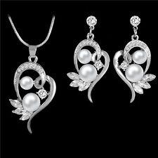 18K White Gold Plated Heart Ear Stud Rhinestone Pearl Pendant Necklace Earring