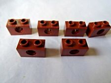LEGO PART 3700 BROWN 1 x 2 TECHNIC BRICK WITH HOLE x 6