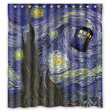 Custom Doctor Who Starry Night Waterproof Shower Curtain 66'' x 72''