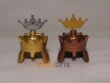 4x Lego King + Queen Crowns / Helmets Gold, Copper, Silver for Castle, Kingdoms