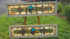 PAIR of Antique Oblong Leaded New England STAINED GLASS Windows Circa 1900