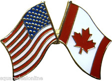 47072 American and Canadian Flags ENAMEL PIN Badge Button Lapel USA Political