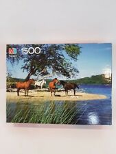 """Vintage MB York 1500 Pieces Puzzle Horses By The Lake 23.5"""" x 31"""" 4335-15 New"""