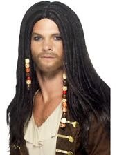Mens Pirate Fancy Dress Wig Black With Beads by Smiffys