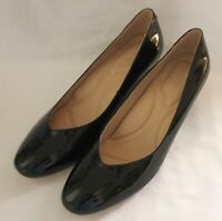 FLORSHEIM ~ Black Patent Leather Round Toe Wedge Heels 'Jour' EU 42 AU 11 UK 9
