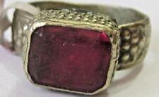 Vintage handmade Afghan ring sz 9.5 brass ruby glass