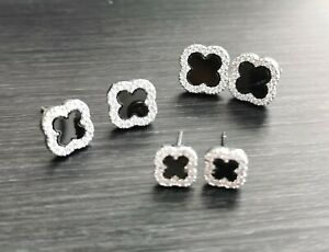 """Four leaf clover"" Design Swarovski Crystal 925 Silver Studs (WG)"