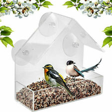 1 x Plastic Clear House Window Bird Feeder Birdhouse Suction Supplies Pet