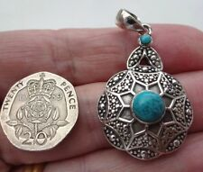 Superb Hand Made Boho Sterling Silver & Turquoise Pendant