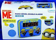 Despicable Me MINION MADE Dual Alarm Clock Radio PLL Movie Voices CR-2942M NIB