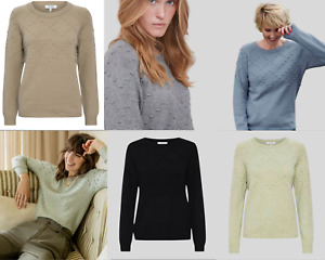 New Womens Ladies B Young Embossed Button Knitted Cosy Knit Jumper in 6 Colours