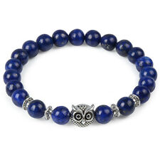 Silver Owl Lapis Lazuli 8MM Beaded Stretch Bracelet 7.5'' -USA SELLER - FREE S/H